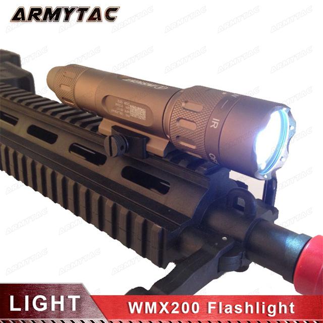 Tactical Flashlight Night Evolution WMX200 Rotational Fold Mount Airsoft Light Rail Mount Q5 CREE LED Weapon Light for Hunting