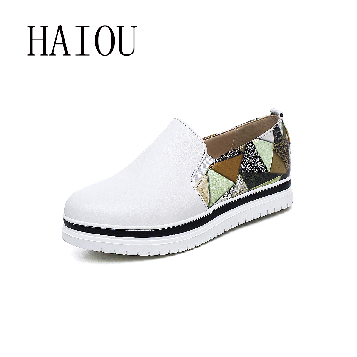 2017 Spring Autumn Casual Flats Shoes Women White Black Round Toe Ladies Slip on Moccasins Driving PU Loafers Platform Shoes New 2017 autumn fashion men pu shoes slip on black shoes casual loafers mens moccasins soft shoes male walking flats pu footwear