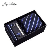 Brand New Male Tie Set Necktie Polyester&silk Handmade Classic Dress Necktie Set Gift Box Packing Blue striped Free Shipping