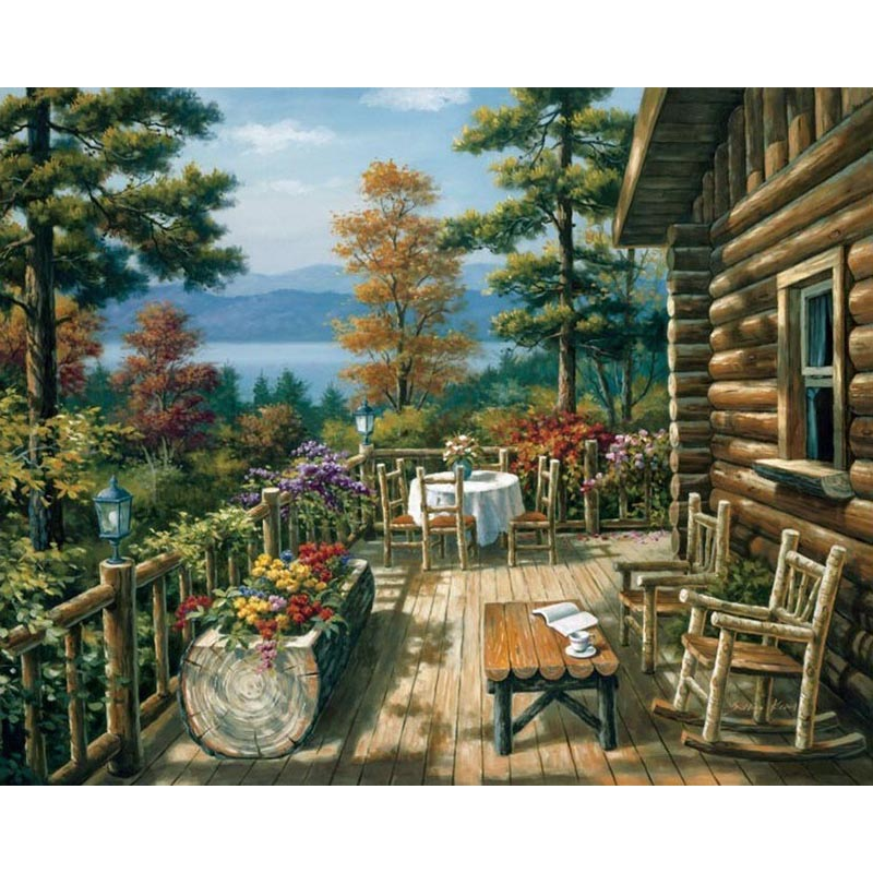 f8e040b83343 Abstract Oil Painting Mountain House Home Decor log Cabin Chairs Flowers  Picture Painting By Numbers Diy Handmade Gift