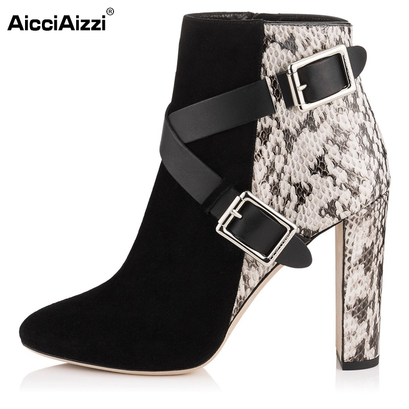 Women Ankle Boots High Heel Shoes Women Square Pointed Toe Boot Sexy Ladies Zipper Botas Brand Buckle Footwear Size 35-46 B157 sexy women s short boots with square buckle and pointed toe design