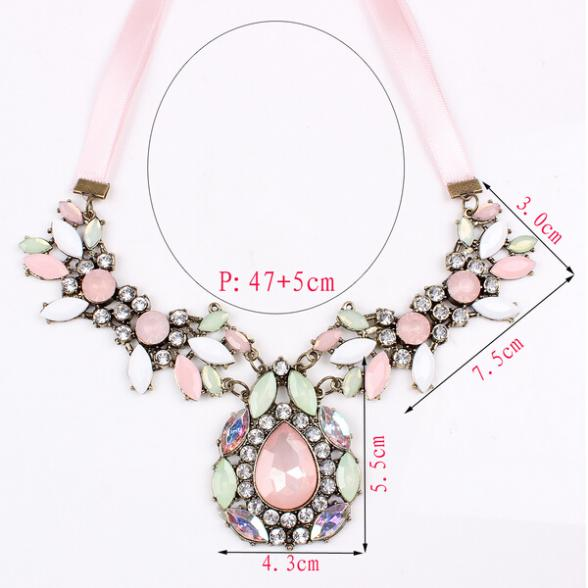 Hot Charm Fashion Heart Jewelry Crystal Chain Statement Women Necklace Pendant