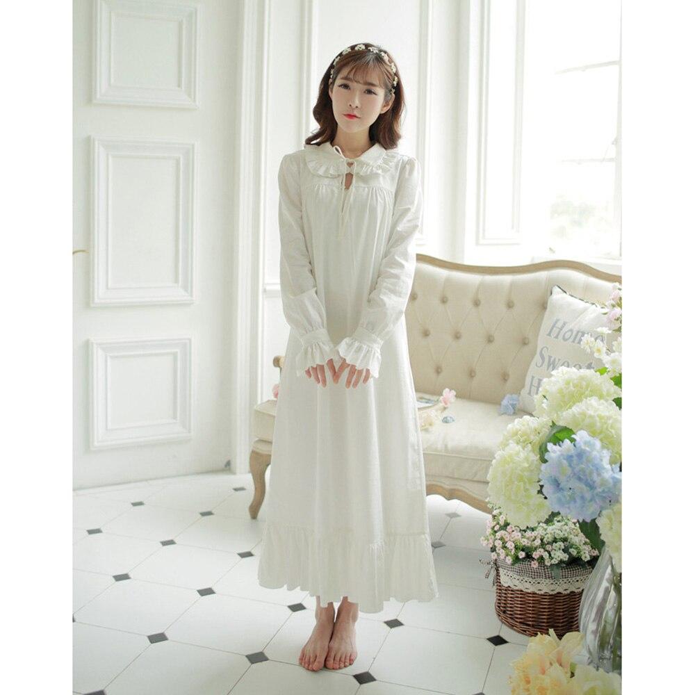 Free Shipping 2018 New Spring Royal Princess Nightdress 100% Cotton Pijamas Womens Long Nightgown White Sleepwear PT1622