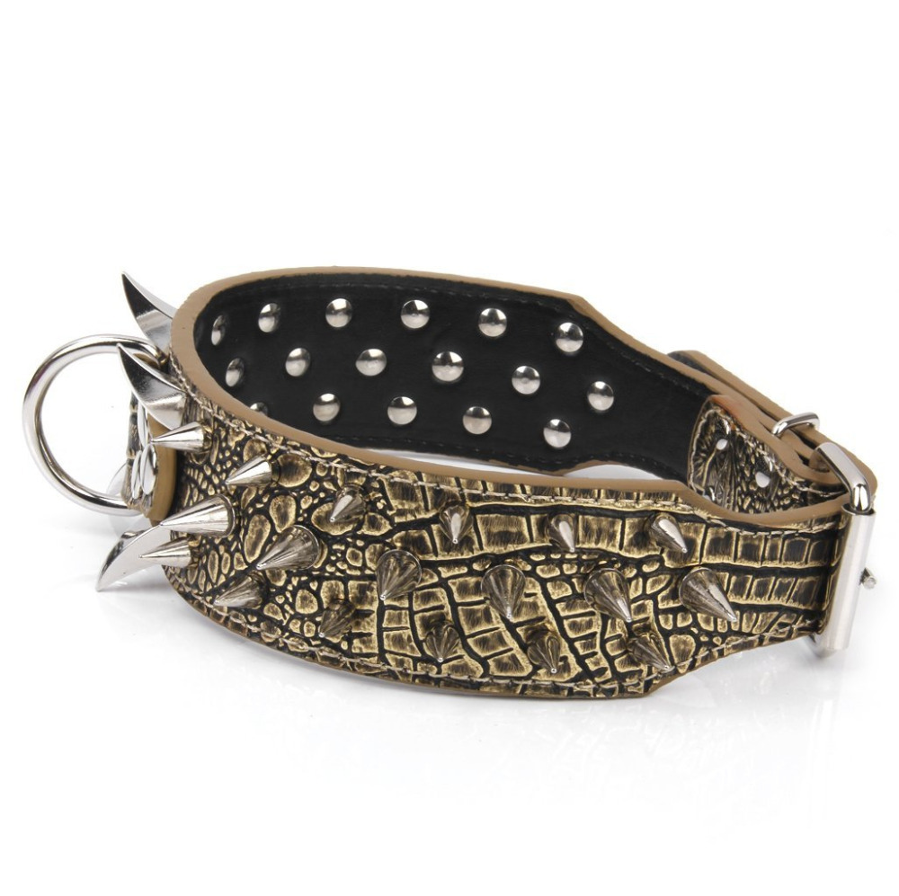 """Durable ajustable Tachonado Claveteado PitBull Mastín Mascota Collar de Perro de Cuero Artificial con d-ring 21 ~ 24\"""""""