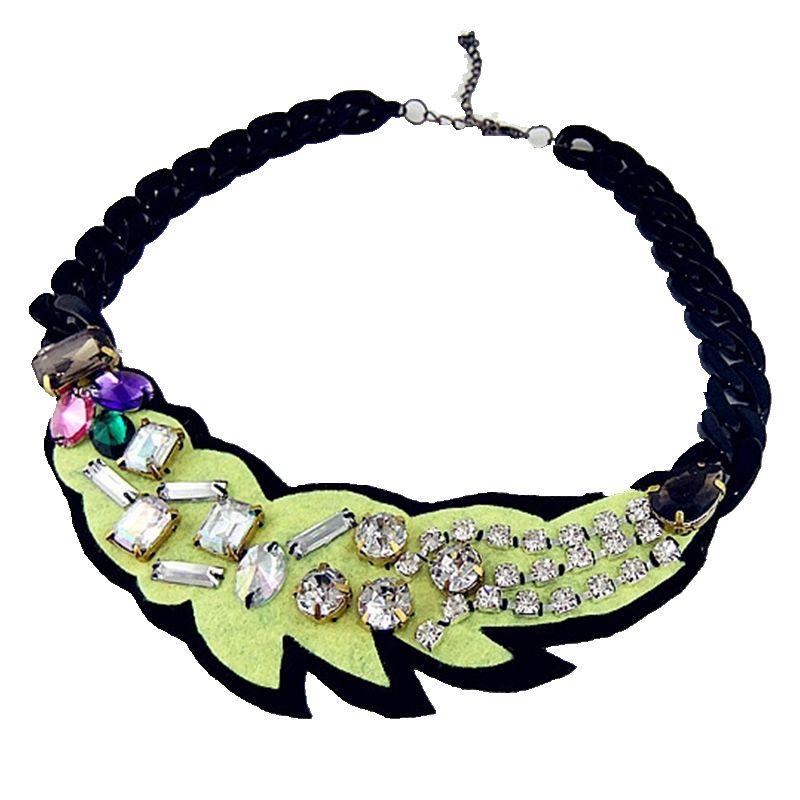 ᗔCirGen Fashion Plastic Black chunky Choker chain Leaf shape ...