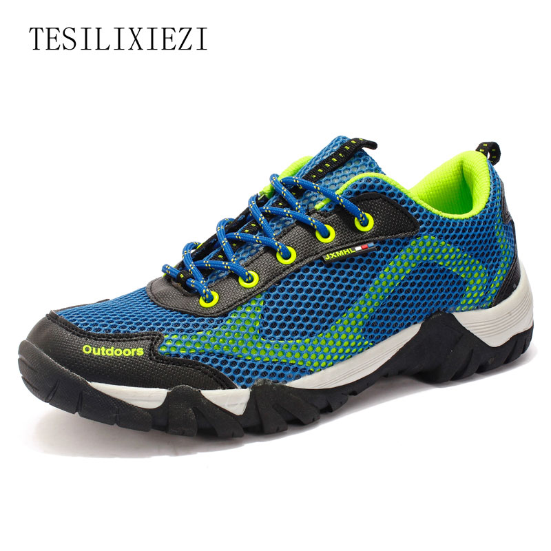 New Summer Breathable Men Anti Slip Outdoor Sports Shoes Male Air Mesh Hiking Shoes Trekking Shoes Mountain Boots Sneakers цена