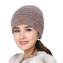 056f1f55e08 jiangxihuitian Brand Women Knitted Hats Winter Thicken Double Layer Elegant  Casual Rabbit Hair Blend Women s Hat