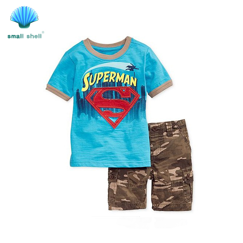 small shell 2016 Summer style Children baby boys clothing sets kids clothes cotton handsome casual Batman superman F0005