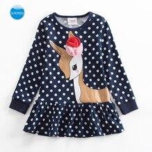 JUXINSU Little Deer Cartoon Polka Dot Girl Long Sleeve Dress Cotton Kids Autumn Winter Casual Dresses for Girls 1-8 Years