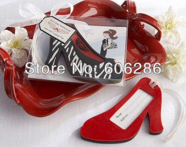 free shipping 100PCS/LOT high heel shaped Luggage Tag novelty wedding giveaways party lottery prize