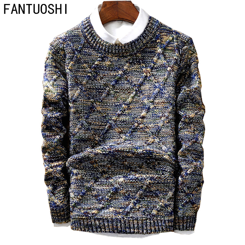 Men's Sweater 2018 New Casual Pullover Fashion Slim Men Autumn Round Neck Knitted Cotton Print High Quality Christmas Sweater