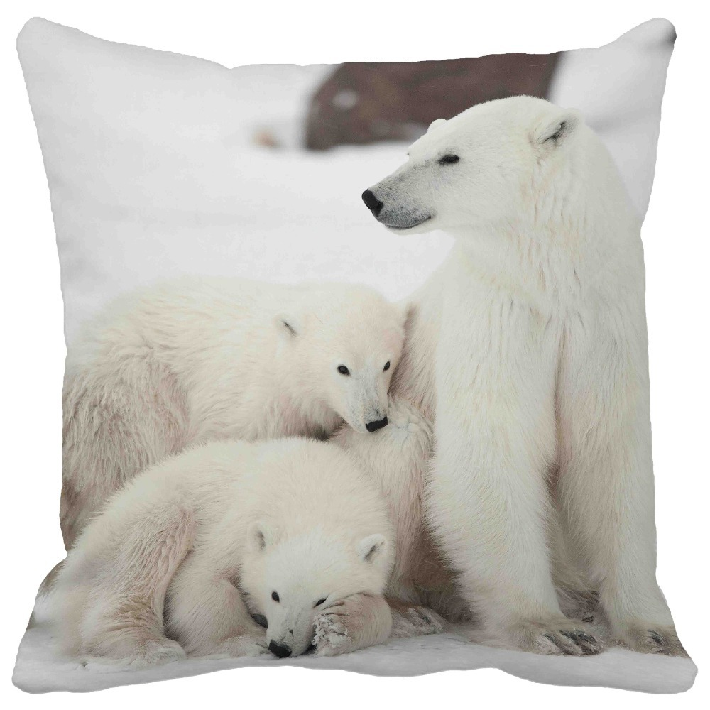 Cute polar bear in white ice field print throw pillows for Bear home decorations
