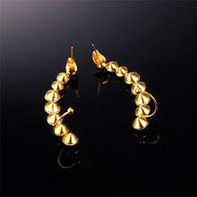 U7 Earring Jackets For Women Fashion Jewelry Chic Gift Ear Jacket Gold Color Stainless Steel Rhinestone Crystal Earrings E7871
