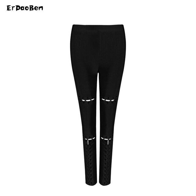 fcfc2b6abc5ff3 Winter Women Runway Leggings Bandage Pants Black White Olive Apricot Stereo  Jacquard Celebrity Party Bodycon Pants Legging H4032