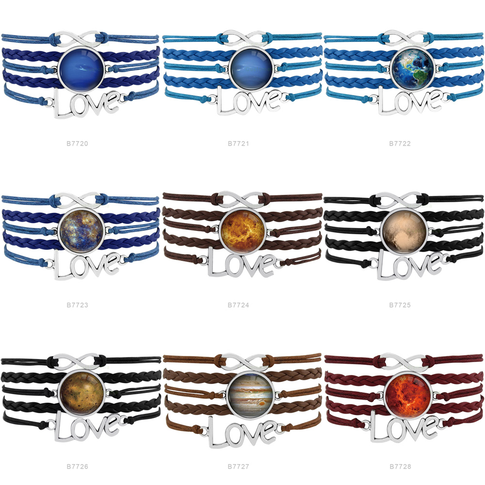 Solar System Mercury Venus Hesperus Planet Earth Mars Jupiter Saturn Infinity Charm Bracelets Women Jewelry Gift Drop Shipping