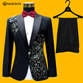 2016 Plus Size Men Suits S-4XL Fashion Black Sequins Embroidered Male Singer Slim Performance Party Prom Costumes Jacket+Pants