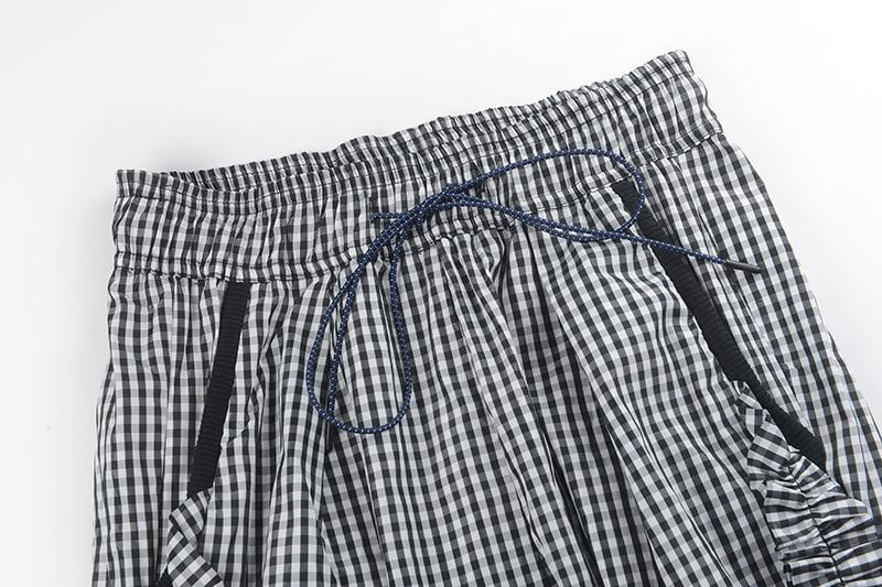 Streetwear Nueva Gris Mujeres Moda Colmena Longitud De Llegada Gruiiceen Gy201845 Cintura Plaid Pantalones Oscuro Tobillo Cordón Alta nZfpq1