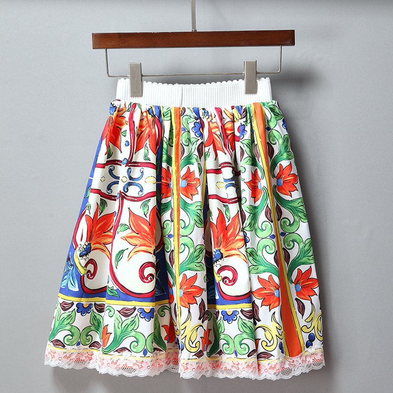 Faldas Mujer Mini Impresión Sobre Moda 2018 Mujeres Vintage Retro La Corto Rodilla Linda Falda Verano De qP4wEz1