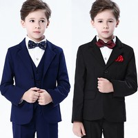 Free Shipping 4Pcs Fashion Gentleman Children Kids Boys Formal Suits Coat+Pants+Bow Tie+Shirt Suit Set for weddings Party menino