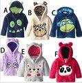 Envío gratis otoño invierno coral polar privada cremallera de la chaqueta añadir lana bordado de dibujos animados de animales
