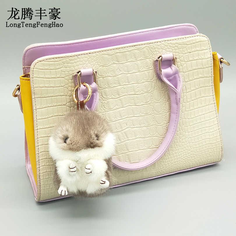 12 cm Hamster Mini Chaveiros Chaveiros Real Mink Fur Pompom Fofo Bugigangas Carro Bolsa Pingente Chaveiro Anel Titular
