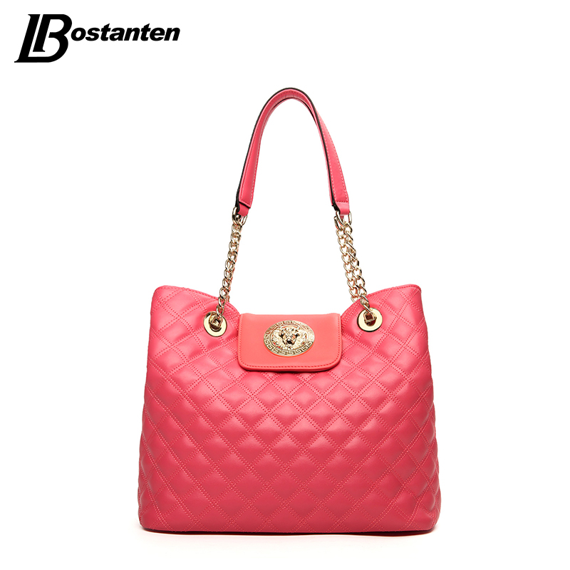 BOSTANTEN Diamond Lattice Women Bag Luxury Brand Candy Color Women Handbags Female Large Tote Bag Ladies Chain Bag Sac A Main trendy zippers and candy color design women s tote bag