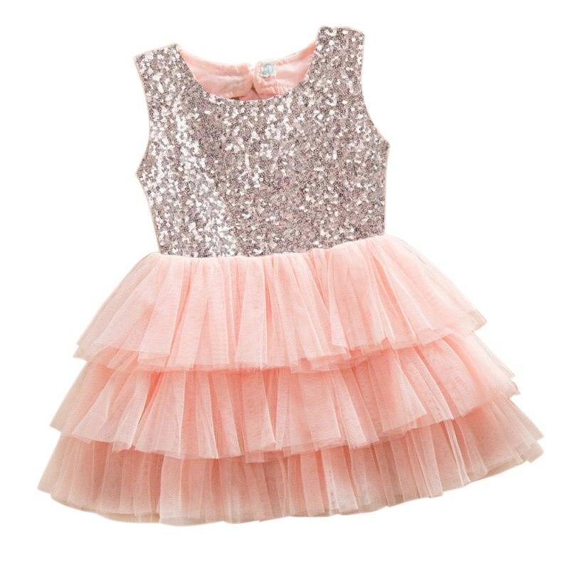 Мода новорожденных девочек платье принцессы с блестками бантом нарядные платья-пачки одежда для маленьких детей Детский праздничный костю...
