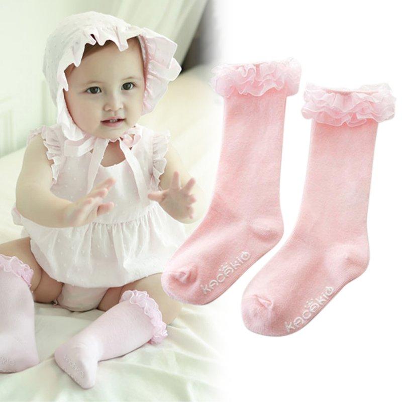 Kids Baby Toddler Girl Princess Soft Cotton Lace Knee Length Warm Cute Socks ombre circle calf length socks