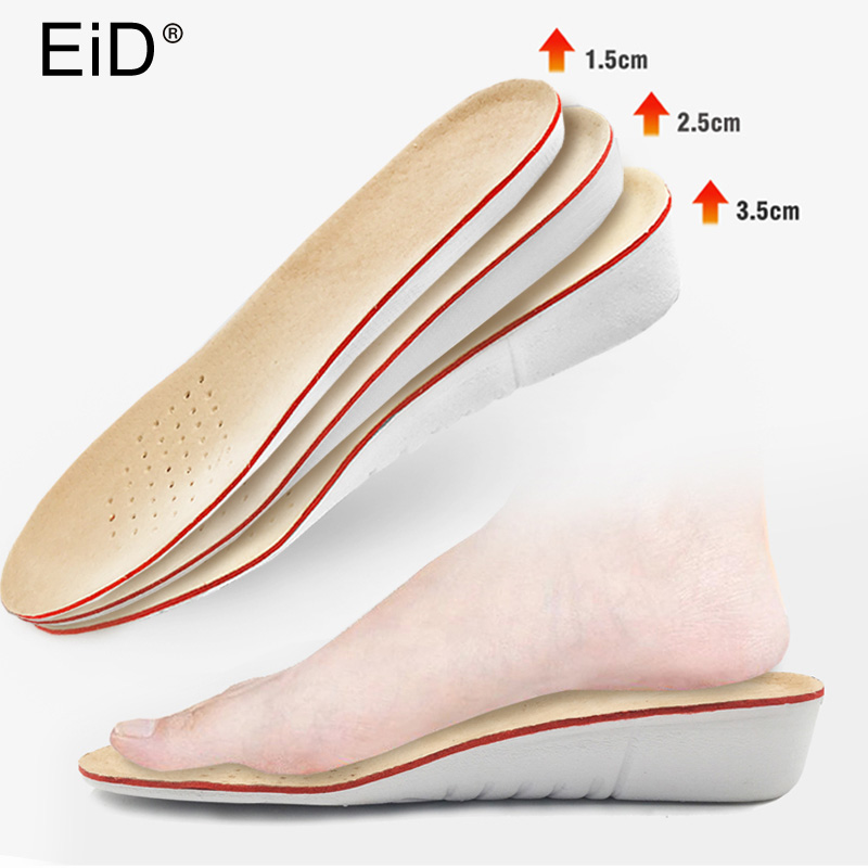 EID Pig Skin Height Increase Insoles For Men/women 1/2/3 Cm Up Invisiable Arch Support Orthopedic Insoles Shock Absorption