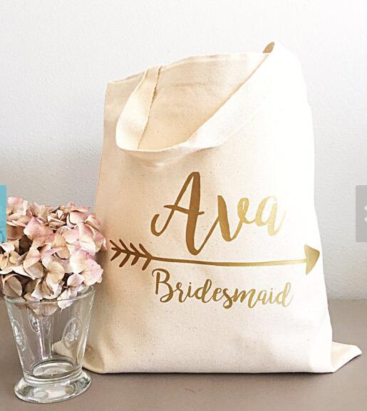 Glitter set of 5 Bridesmaid tote bags Personalized names Champagne ...