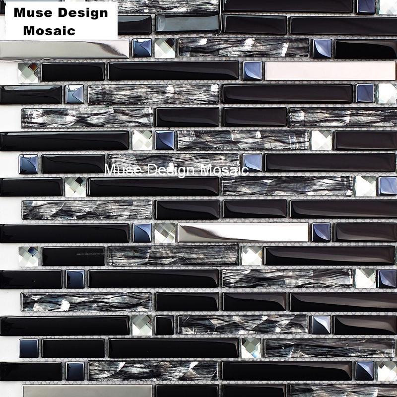 Interlocking Black Glass Mixed Gray Mirror Mosaic Tiles Bathtub Area