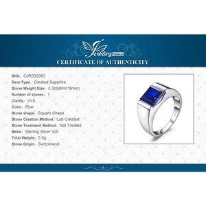 Image 5 - Jewpalace 3.3ct Gemaakt Sapphire Ring 925 Sterling Zilveren Ringen Voor Mannen Trouwringen Zilver 925 Edelstenen Sieraden Fijne Sieraden