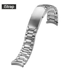 IStarp 20 مللي متر حزام ساعة اليد الصلبة قلادة فضية من الفولاذ المقاوم للصدأ حزام (استيك) ساعة ل أوميغا كوكب المحيط الصلب سوار 1589/858