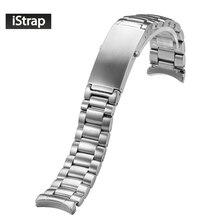IStarp 20mm saat kayışı katı paslanmaz çelik gümüş saat bandı Omega Seamaster gezegen okyanus çelik bilezik 1589/858
