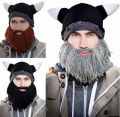 2016 lastest handmade knitted crochet knight beanies novelty hat xmas christmas gift bearded viking hat beard cap father adult