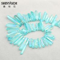 Blado Niebieski Titanium Quartz Punkty Oscylatora Kwarcowego Pasemka Kryształowe Punkty Raw Kryształ Kwarcowy Pełna Strand Biżuteria DIY