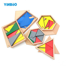 Montessori Educational Wooden Toys For Children Constructive Triangles With 5 Boxes Early Preschool Training Family Version