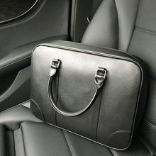 Men's Handbag Cowhide Briefcase Large Capacity Laptop Crossbody Bag Simple Genui
