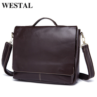 WESTAL сумка мужская натуральная кожа мужская сумка через плечо сумки Мужские портфель мужской деловой кожаные портфели для документов конци