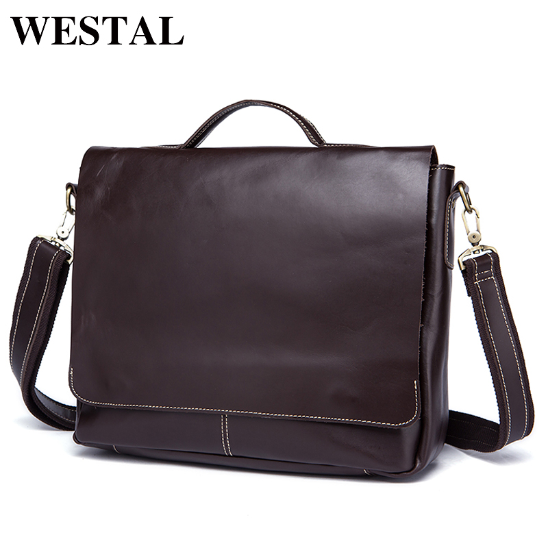 WESTAL Leather Men Laptop Bags Genuine Leather Man Crossbody Shoulder Handbag Men's Briefcase Male Bag Laptop Messenger Bag 9878 genuine leather men bags messenger bag leather man shoulder crossbody mens bag business laptop briefcase men handbag laptop bags
