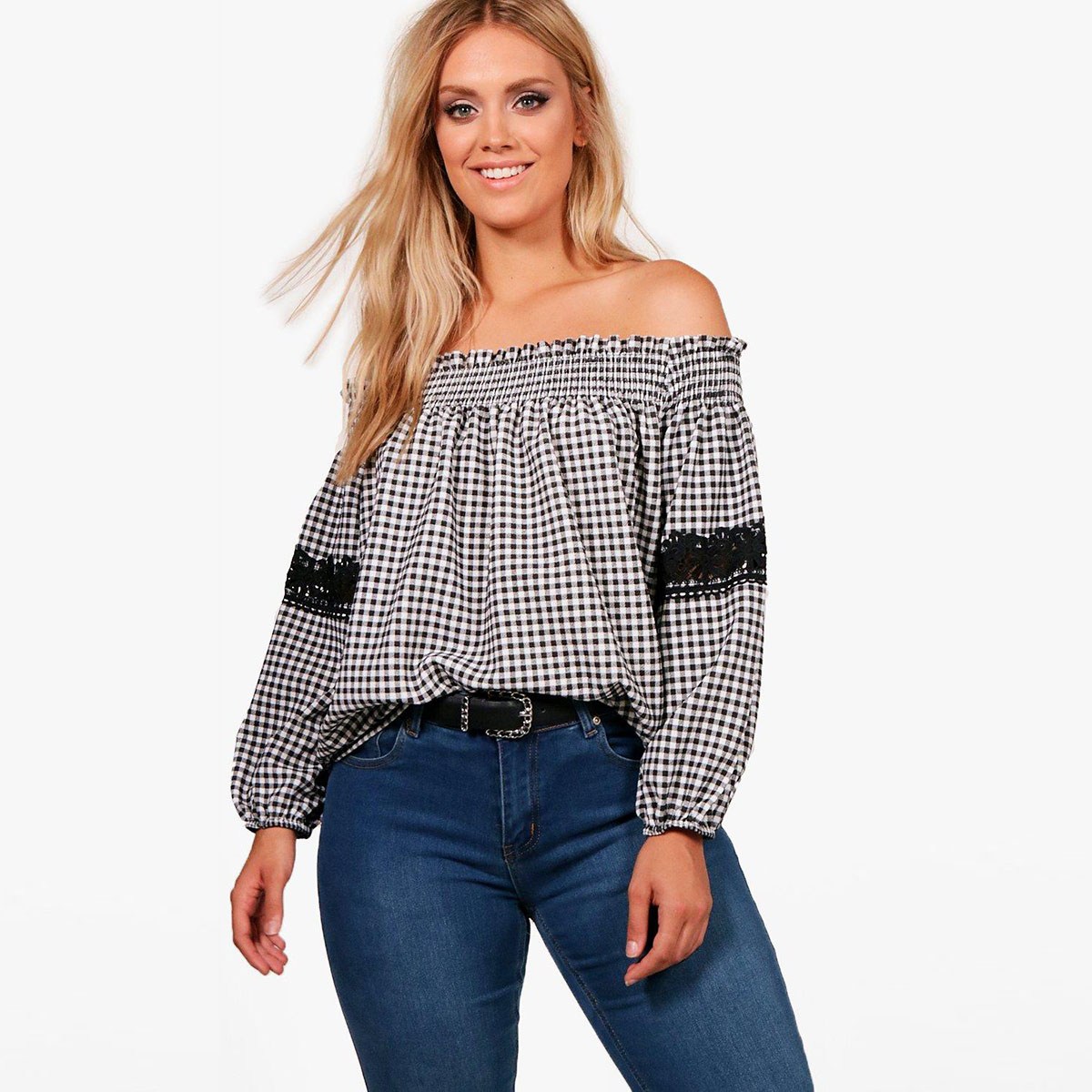 MCO 2018 Sexy Off Shoulder Plus Size Plaid Top Casual Lace Oversized Gingham Bardot Blouse Basic Big Women Clothing 5xl 6xl 7xl 1