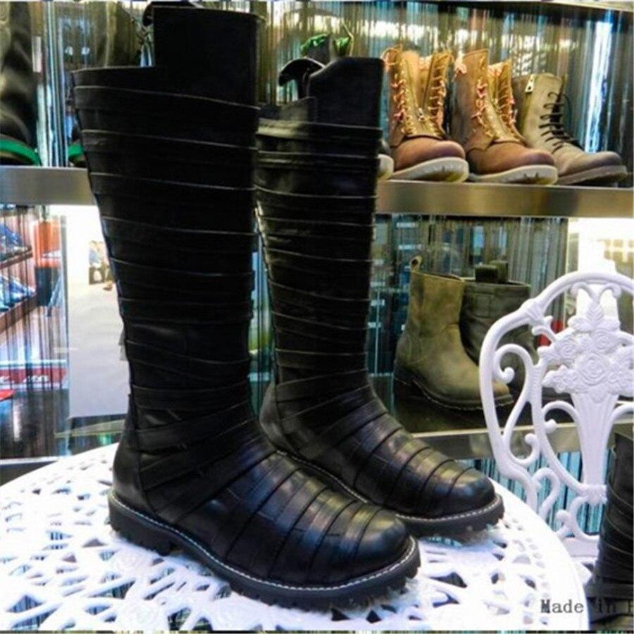 اليدوية الفاخرة المنصة أعلى الركبة عالية خمر جلد كامل شريط شخصية جلد حقيقي فارس الأحذية-في أحذية للدراجات النارية من أحذية على  مجموعة 1