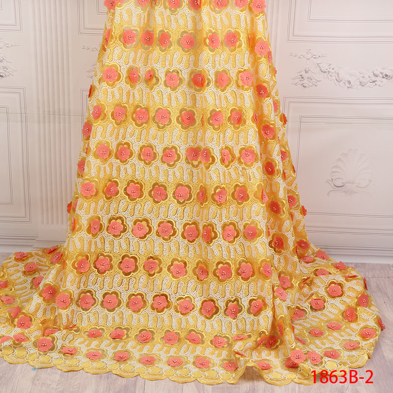 Grace African Laces Fabrics Embroidered French 3D Flowers With Beads Stone Lace Fabric Nigerian Net Tulle Lace Fabric APW1863B