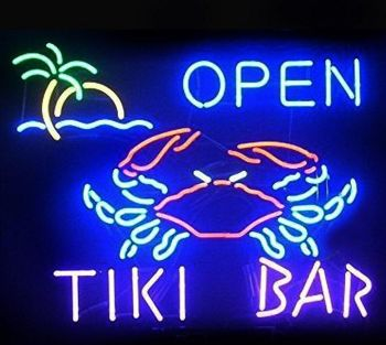 Tiki Bar Crab Open Glass Neon Light Sign Beer Bar