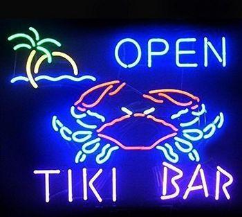 Tiki Bar Crab Open Glass Neon Light Sign Beer Bar