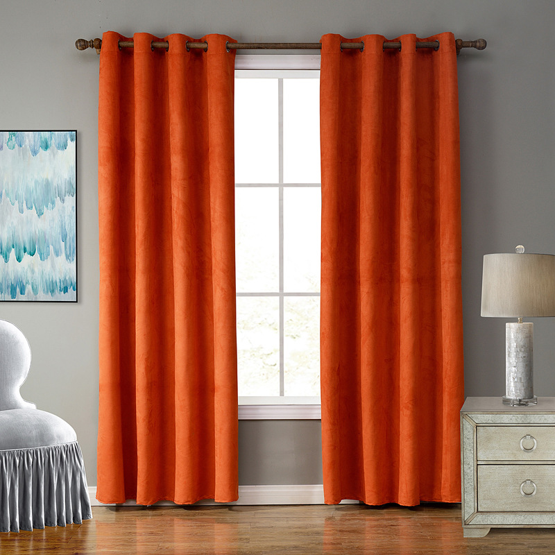 Junwell Faux Suede Fabric Panel Curtains For Living Room Semi Blackout Curtain For Bedroom Drapes Punching Top Process