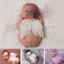 Baby Photography Props Boy Girls Angel Wings Fitted Wing Set Feather Infant Costume Photo Props with Headband for 0-3months(China)