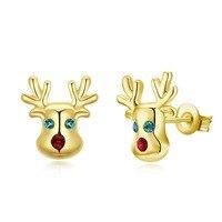 สุขสันต์วันคริสต์มาส3สีหัวกวางออกแบบS Tud E Arrings LKN18KRGPE1367น่ารักสาวของขวัญคริสต์มาสแฟชั่นกวางต่างห...