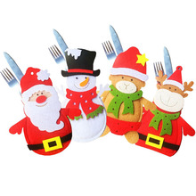 10 pcs / lot Christmas cartoon Bags Dining Table Knife Fork Holder Navidad Santa Claus snowman xmas Party Tableware Decoration