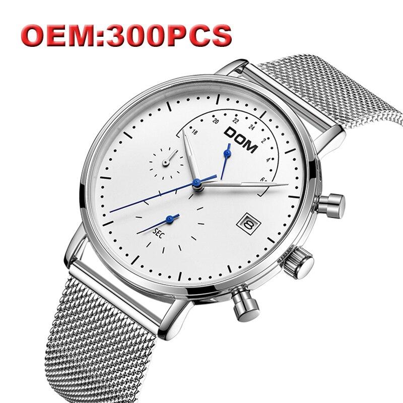DOM marque de luxe personnalisé votre propre marque Designer japon mouvement montre-bracelet en acier inoxydable horloge Quartz montres pour hommes